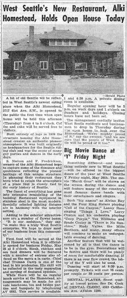 The West Seattle Herald's coverage of the Alki Homestead's opening, published on June 25, 1950. CLICK CLICK to ENLARGE