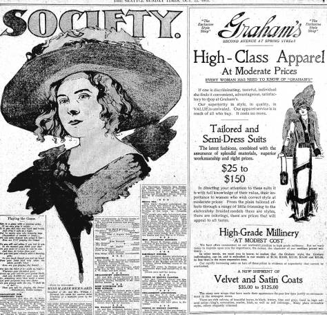 The caption identifying Marie Bernard is below the sketch. Pulled from The Seattle Times for Oct. 15, 1911.