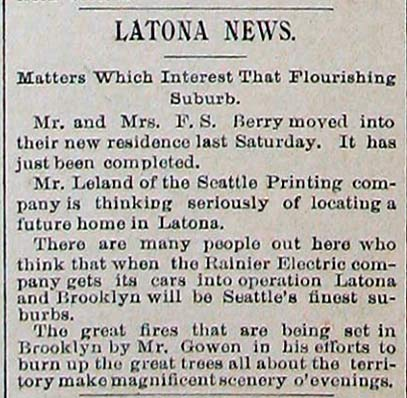 Boomers news about both Latona and Brooklyn (future University District) from Dec. 1, 1890.