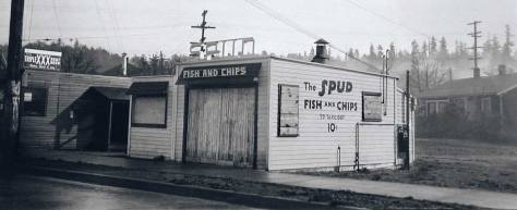 The first SPUD home polished up from a 1937 King County tax photo. The home on the right and the treeline above it should look familiar. [Courtesy Washington State Archive]