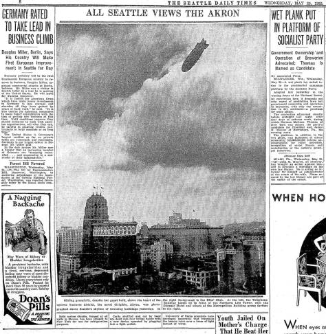 The Akron's Tuesday arrival came too late to include a picture of it soaring over Seattle, so The Times included on in the Wednesday paper.
