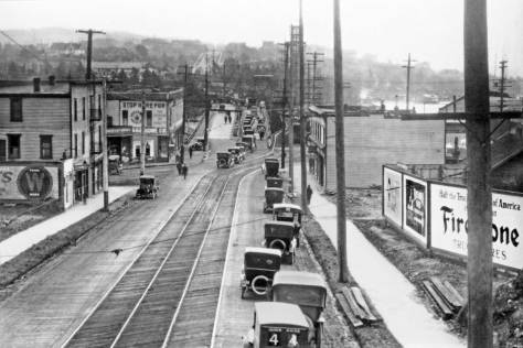 This was recorded late in the life of the Latona Bridge, and looks south from the railroad overpass (Burke Gilman Trail now). The circa date is 1919. The photo is treated to its own feature above the Ron Edge links added below.