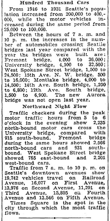 The comparative use of north shore bridge excerpted with a clip from the Seattle Times for July 24,1932.