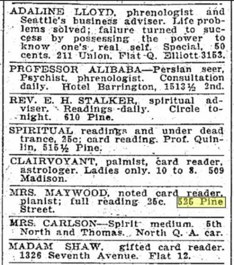 A Seattle Times classified from March 19, 1913.