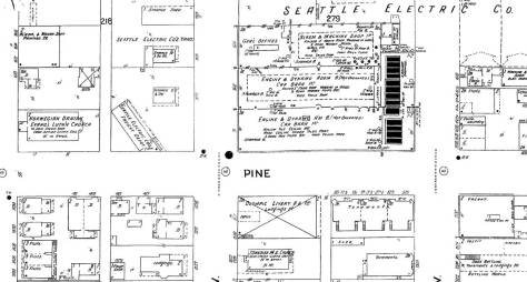 """Another Sanborn map with a detail at the lower-right of what it has characterized as """"Tenements."""" This from 1904-5. Note the stuffed block to the north, across Pine Street. It is the home of the local trolley company, the Seattle Electric Company. Westlake does not as yet cut through the neighborhood, but soon will in 1906-7. (Courtesy, Ron Edge)"""