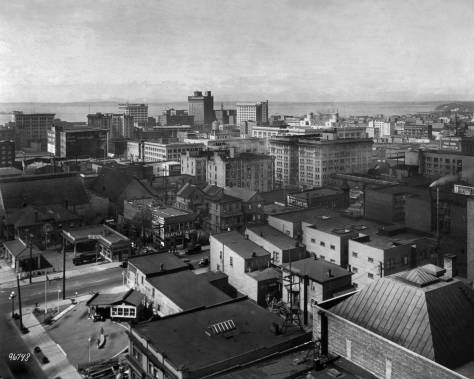 THEN: The city's north end skyline in 1923 looking northwest from the roof of the then new Cambridge Apartments at 9th Avenue and Union Street. (Courtesy, Museum of History and Industry)