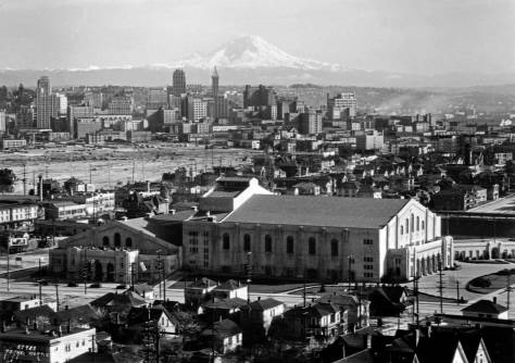The Civic Center ca. 1930 from Queen Anne Hill. The trolley yard is out of frame to the left. (Courtesy, Washington State Museum, Tacoma)