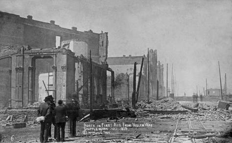 The post 1889-fire ruins of the city's showstrip of ornate business structures that ran along the west side of Front Street (First Ave.) from Mill Street (Yesler Way) for the two blocks to Columbia Street.