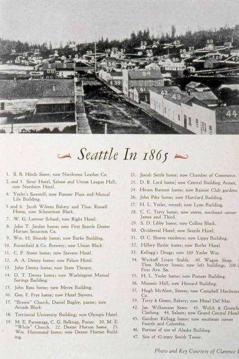 A numbered key to Sammis' panorama of Seattle. It was photographed from the top of the roof on Snoqualmie Hall on the southwest corner of Commercial Street (First Ave. S.) and Main Street in 1865.
