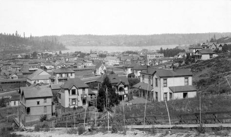 THEN: A.J. McDonald's panorama of Lake Union and its surrounds dates from the early 1890s. It was taken from First Hill, looking north from near the intersection of Terry Avenue and Union Street. (Courtesy, Museum of History and Industry)
