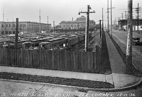 THEN: Looking west from the southwest corner of 6th Ave. N. and Mercer St. to the trolley barn and yards for the (renamed in 1919) Seattle Municipal Railway in 1936. (Courtesy Lawton Gowey)