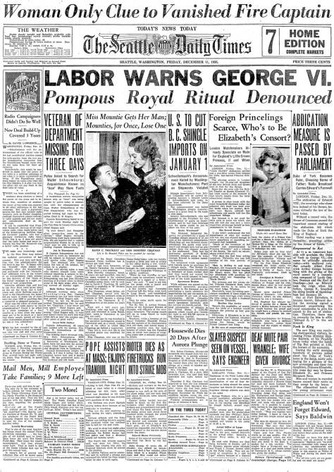 The Seattle Times front page for December 11, 1936. The future Queen Elizabeth has not quite yet learned of her fate, and English labor warns her dad to pump down the pomp.