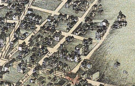 The Ward home is shown in this detail from the 1891 Birdseye of Seattle on the home with a tower upper-right at the drawn end of Pike Street.