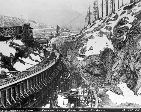 Cedar River Masonry Dam, Seattle City Light. Dated March 18, 1913. This bigger dam was completed in 1914.