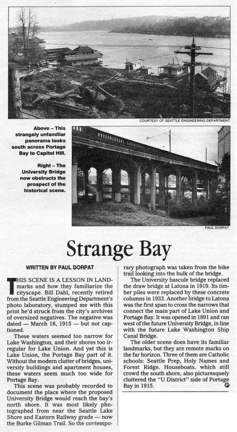 """I (paul) took this """"now"""" shot long ago and long before the """"Bridge of Death"""" sign was in place under this north end of the University Bridge. You can find it, however, in all of its strange splendor in Jean's video at the top."""