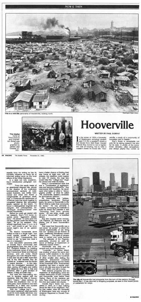 My first feature on Hooverville, appeared in Pacific on November 21, 1982.