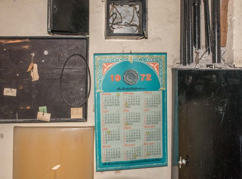 An unused basement room next to the shelter. Note the Bank of CA 1972 calendar!