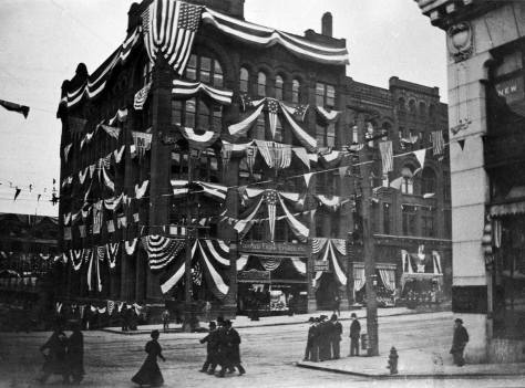 The Haller Building at the northwest corner of Columbia and Second decorated for the 1908 visit of the Great White Fleet.