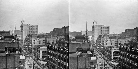 More bunting on Second Avenue for the Fleet's visit in 1908. Elements of both the Haller and roofs are on the left.