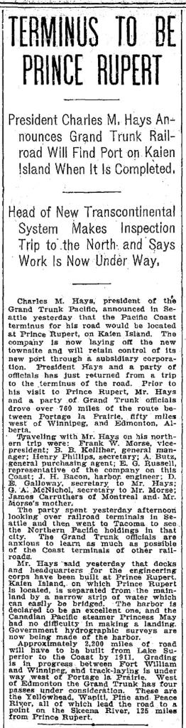 Seattle Times clip, October 3, 1906