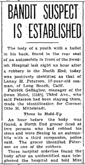 Clip from the Seattle Times for May 28, 1935.