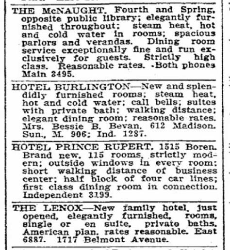 A Prince Rupert Seattle Times classified from May 16, 1907.