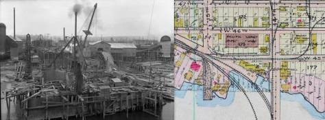 The Phoenix Shingle Co. mill is footprinted on the Baist map framed here beside another photograph of the site, but one that looks back - and north - at early construction on the north pier for the new Ballard Bascule Bridge.