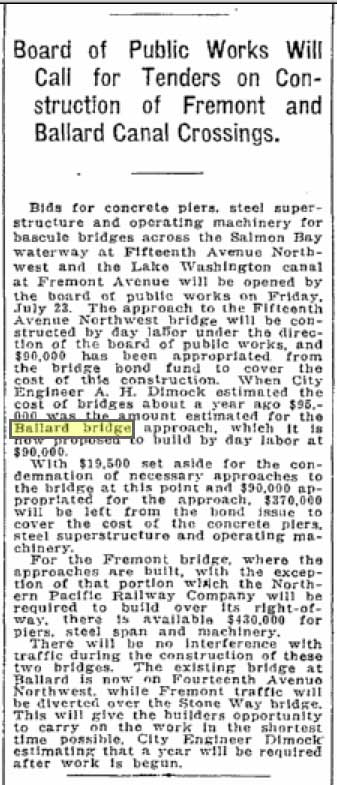 The Public Works Dept. call for bids on both the Fremond and Ballard bridges, in the Seattle Times for June 8, 1915.