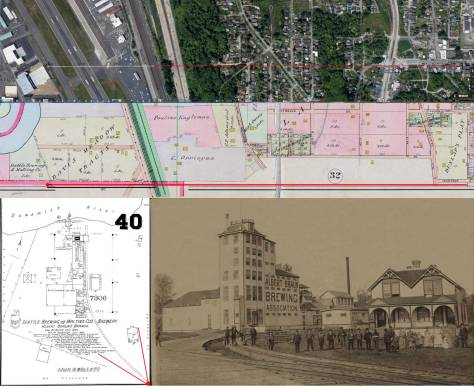 A detail of the 1893 Sanborn map is printed in the bottom-right corner. Running left-right through the middle of the montage is a detail from the 1912 Baist Real Estate Map, and on the top is a detail from the current GoogleEarth space shot of the old brewery site. (Thanks to Ron Edge for assembling this.)