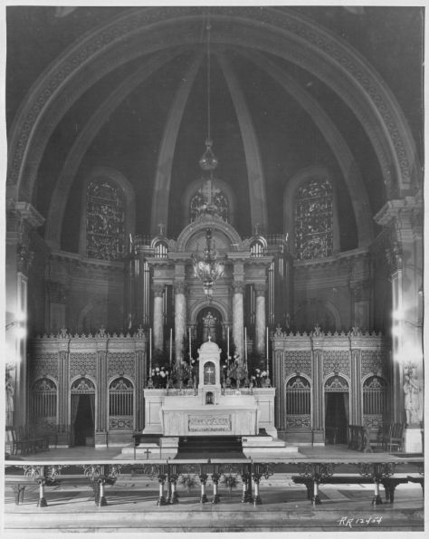 The main altar and Sanctuary. The main altar was dovated by Mrs. Elizabeth Foss. The ***** and Foss altar railing ***** the gift of Mr. Patrick J. Henry in memory of his mother Michael J. Henry.