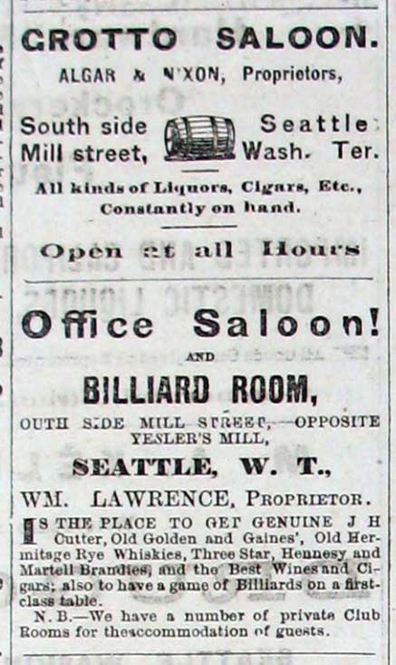 A short stack of saloon advertisements pulled from the Dispatch for October 15, 1877.
