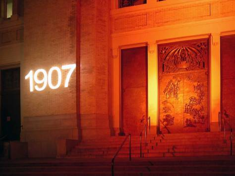 Temporary illuminated date for the 2007 Saint James Centennial.