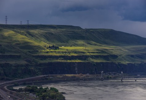 During inclement weather, the play of shadows and highlights in the Gorge