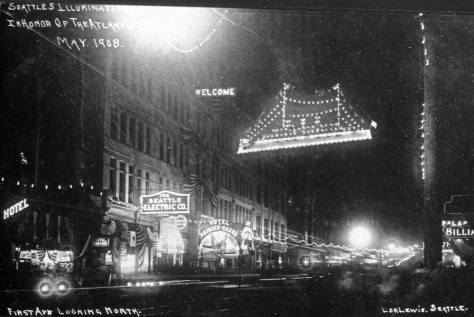 One of the most-favored decorations was the illuminated battleship hung above First Avenue between Marion and Madison Streets. Its sponsor, the
