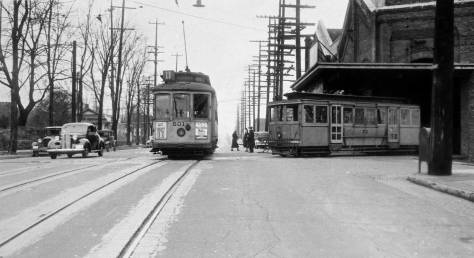 Circa 1939 looking north on Broadway through James Street with the power house on the right. (Courtesy, Lawton Gowey)