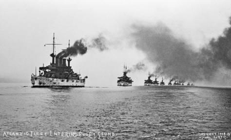 Asahel Curtis' stock postcard shot of the Atlantic Fleet on Puget Sound.