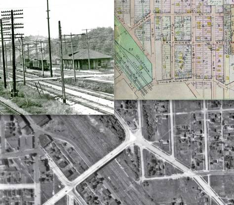 "Here, again, upper-left is the planked Graham Street crossing the tracks into Georgetown. It is found at the bottom of the 1912 map, upper-right. There too can be found the promised footprint on this detail from the 1912 Baist Real Estate Map. The aerial at the bottom has been ""covered"" above."
