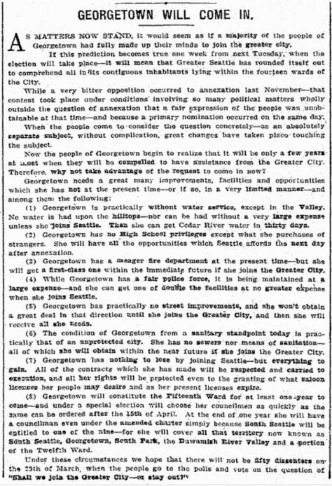 An annexation boosting clip from the Seattle Times for March 20, 1910.