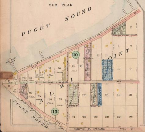 """The intersection of Olson and Hanson seen here near the center of a Alki Point detail lifted from the 1908 Baist Real Estate Map. The two yellow footprints to the right of the circle """"15"""", bottom-left, mark - inadequately - the primary structures at Rose Lodge."""
