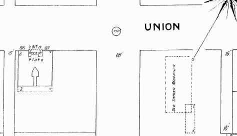 Ninth Avenue runs up through the middle of this detail from the 1904-5 Sanborn Real Estate Map, which also gives an outline to the