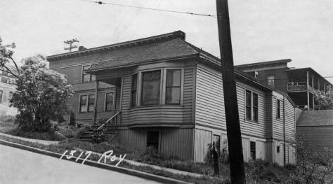 """Another 1937 tax photo, this one looking southeast at 1317 Roy Street but also showing parts of our three primary subjects, the north facade of the Gothic 'miniature,' far left, above it the rear east facade balconies of the Jensen Apartments, and far left the north facade of the 4- unit apartment on Eastlake. This is another formerly """"lost"""" image released by"""