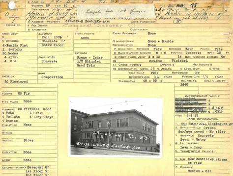 """A tax card for our feature's first neighbor to the north, the larger four unit apartment house from 617 thru 619 Eastlake. The photo was most likely taken on the same visit to the addition in 1937. Our Gothic """"cuties' is hidden behind it, but the part of the Jensen Apartment on the northwest corner of Mercer and Eastlake is showing on the far left."""