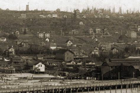 Churchill Warner's early 1890s look east across the south end of Lake Union to Capital Hill includes a the Gothic twins on Albert/Eastlake.
