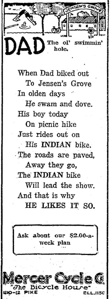 Jensen's' Grove cartooned and nostalgically recalled by a bike shop in the Times for April 27, 1919.