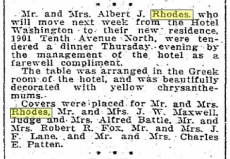 A clip from the Times for Dec. 11, 1915, on the eve of the Rhodes moving to their new home featured here at the top.