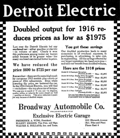 A Detroit Electric ad from the fall of 1915.