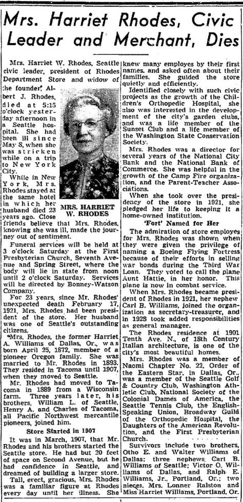 Harriet Rhodes Seattle Times obituary from July 6, 1944.