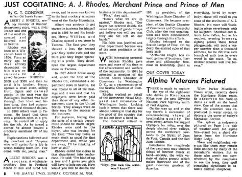 "A. J. Rhodes rememberd by ""Just Cogitating"" Conover, a pioneer journalist/real estate promoter who kept writing for the paper into his 90s."