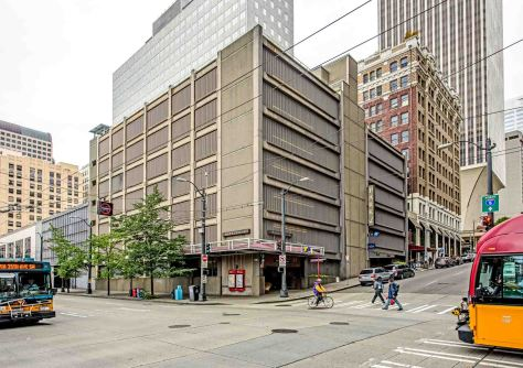 """NOW: The locally popular Jackie Sounders band played for the Pantages Theatre's """"Last Curtain Party"""" in 1965. It then took a year to replace the imposing terra cotta tile clad theatre with the seven-story car cache that survives at the corner."""