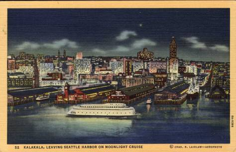 "The new ferry Kalakala imagined passing in front of the towered Colman Dock that was replace with the Art Deco dock, below, to compliment the ""world's first streamlined ferry."""